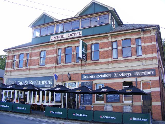 Today, the heritage facade of the Empire Hotel stands prominent in Deloraine.