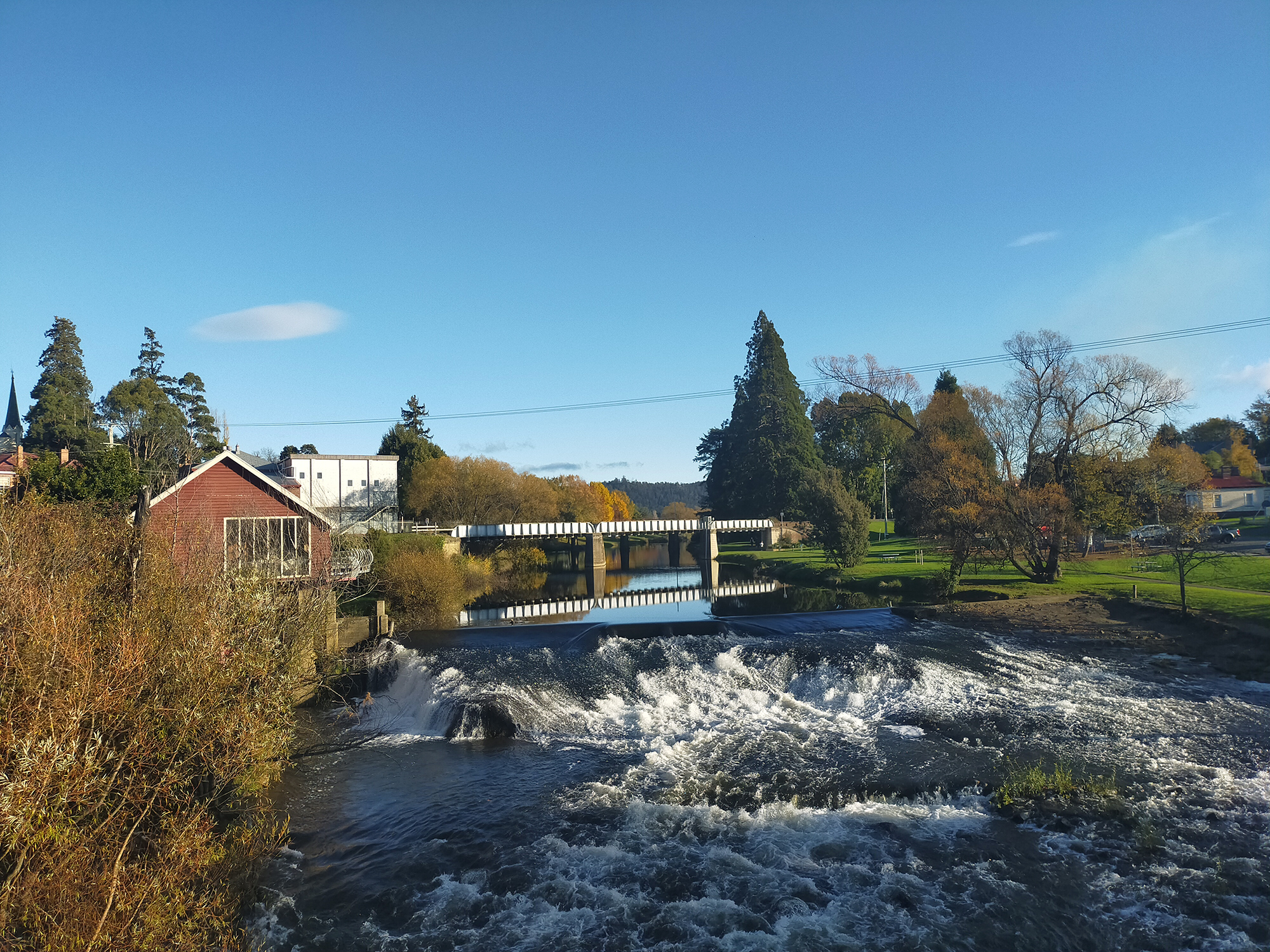 The weir at the rapids on the Meander River at Deloraine